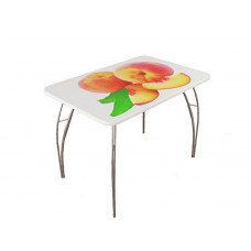 Стол обеденный с фотопечатью Персик