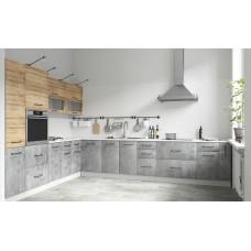Кухня ЛОФТ дуб цикорий/бетон светлый 2600*3600 мм