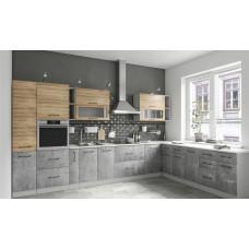 Кухня ЛОФТ дуб цикорий/бетон светлый 3600*2600мм