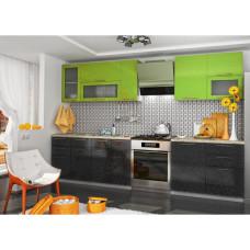 Кухня OLI салатовый/черный 2.5 метра