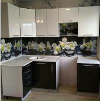 Кухня угловая OLI 1100*2200мм белый/черный металлик