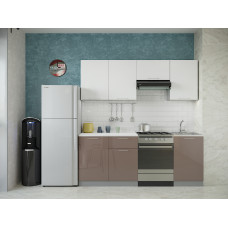 Кухня Oli белый глянец/кофе с молоком 2,1м