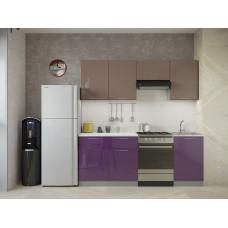 Кухня Oli кофе с молоком/фиолетовый глянец 2,1м