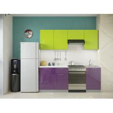 Кухня Oli лайм/фиолетовый глянец 2,1м
