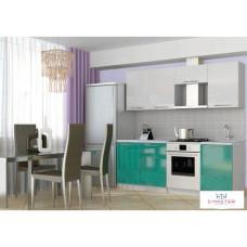 Кухня для дачи Оливия 3D (бирюза+белый) 2,1м