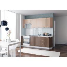 Кухня для дачи ДИНА 2,35см кофе с молоком глянец/шоколад глянец