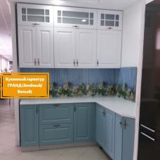 Кухня для дачи Гранд белый/зеленый 1900*1800мм