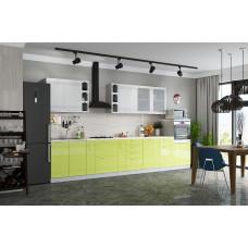 Кухня Мокко 3900 белый/лайм